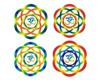 Mandala with aum om symbol. Rainbow abstract objects. Four mandalas with aum om symbol. Rainbow abstract objects, disk, rotation. Bright colors for decoration Stock Photography