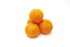 Four mandarines. On a white background Stock Photography