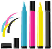 Four markers - cyan, magenta, yellow and black. Illustration of four markers in different colors - cyan, magenta, yellow and black Royalty Free Stock Images