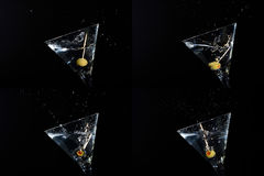 Four martini splashes Stock Images