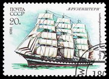 Four-masted barque Krusenstern , Cadet Sailing Fleet of the USSR serie, circa 1981. MOSCOW, RUSSIA - OCTOBER 21, 2018: A stamp printed in USSR (Russia) shows royalty free stock photo