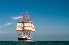 Four-masted barque rear view. Clear sky, sunny afternoon , Four-masted barque rear view stock images