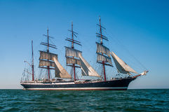 Four-masted barque right side view. Clear sky, sunny afternoon , Four-masted barque right side view royalty free stock photos