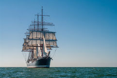 Four-masted barque right side view. Clear sky, sunny afternoon , Four-masted barque front view royalty free stock photo