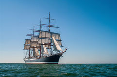 Four-masted barque right side view. Clear sky, sunny afternoon , Four-masted barque three-quarters view royalty free stock image