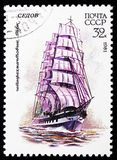 Four-masted barque Sedov , Cadet Sailing Fleet of the USSR serie, circa 1981. MOSCOW, RUSSIA - OCTOBER 21, 2018: A stamp printed in USSR (Russia) shows Four stock photos