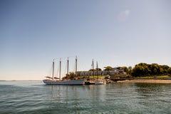 Four Masted Schooner at Bar Harbor Resort Stock Image