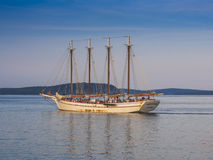 Four masted schooner. Margaret Todd, sailing out of Bar Harbor, Maine, USA for a sunset cruise Stock Image