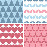 Four matching bold shapes seamless patterns background set Royalty Free Stock Photography