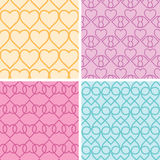 Four matching heart motives seamless patterns background set Stock Image
