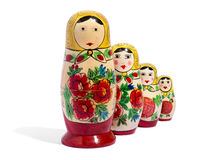 Four matryoshka dolls in front of each other Stock Photography