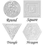 Four mazes shapes against white Stock Photography