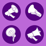 Four megaphone flat icons Royalty Free Stock Photo