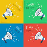 Four megaphone with slogans Stock Photography