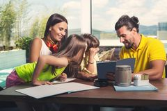Family having great time in a restaurant Stock Photography