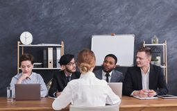 Free Four Members Of Commission Talking With Candidate Royalty Free Stock Photo - 125447945