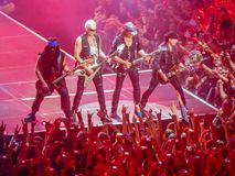The Scorpions rock band playing at a concert in Saint Petersburg royalty free stock images