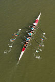 Four men rowing on Danube river Royalty Free Stock Photography