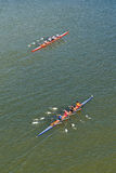 Four men rowing on Danube river Royalty Free Stock Image