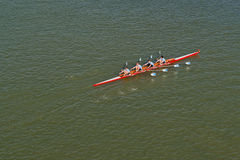 Four men rowing on Danube river Stock Photo