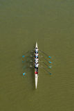 Four men rowing on Danube river. NOVI SAD, SERBIA - OCTOBER 18, 2014: Four women rowing on Danube River in Novi Sad on traditional remote regatta competition Stock Photos