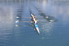 Four men rowing. Rowers in four-oar rowing boats on the tranquil lake stock photos