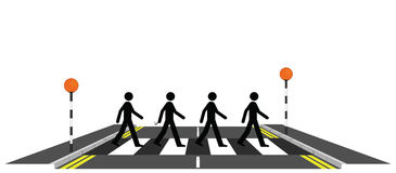 Four men on a zebra crossing royalty free illustration