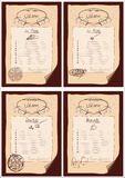 Four menus Stock Images