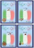 Four menus colored Stock Photo
