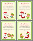 Four Merry Christmas and Happy New Year Cards Stock Photos