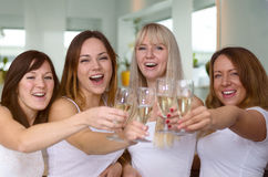 Four merry women partying and toasting. With flutes of champagne laughing as they celebrate a special occasion, holiday or success, close up upper bodies royalty free stock photography