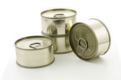 Four metal cans Stock Images