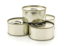 Four metal cans Stock Image