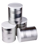 Four metal cans. Royalty Free Stock Photo