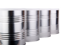 Four metal cans. Royalty Free Stock Images