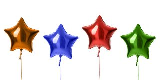 Four metallic big red orange blue green latex balloons for birthday party isolated on a white. Background stock images