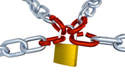 Four Metallic Chains with Four Stressed Link Locked with a Padlock Royalty Free Stock Photography