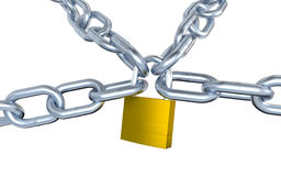 Four Metallic Chains Locked with a Padlock Stock Images