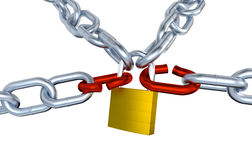 Four Metallic Chains with Two Stressed Link Locked with a Padlock Royalty Free Stock Photography