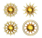 Four Metallic Sun Symbols Royalty Free Stock Photos