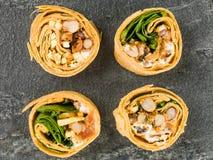 Four Mexican Style Three Bean Vegetarian Wrap Stock Photo