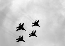 Four MiG-29 in the air Royalty Free Stock Image