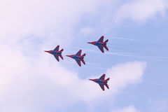Four Mig 29 fighter planes fly Stock Photography