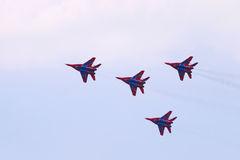 Four Mig 29 fighter planes team Royalty Free Stock Photography