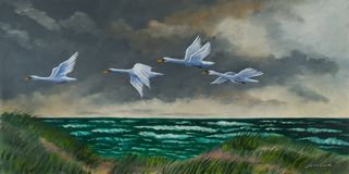 Four migratory birds fly on the coast above the sea vector illustration