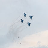 Four military jet planes in sky Royalty Free Stock Photos