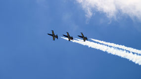 Four military planes flying in the group Royalty Free Stock Photography