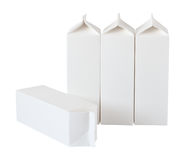Four Milk Boxes per liter and liter on White Stock Photo