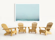 Four miniature adirondack chairs on white Royalty Free Stock Photos