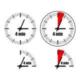 Four Minutes Clock on white background. Four options Stock Illustration